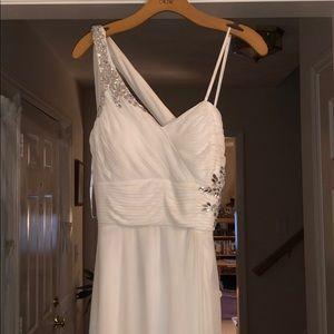 Cache One Shoulder White Prom Dress